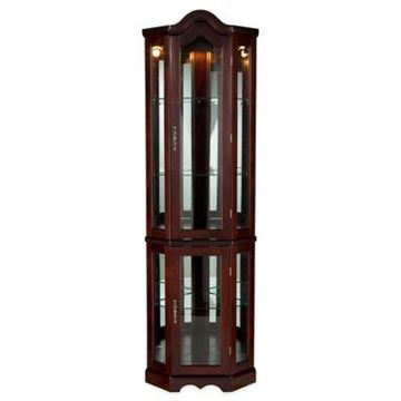 Southern Enterprises Lighted Corner Curio Cabinet in Rich Mahogany Finish