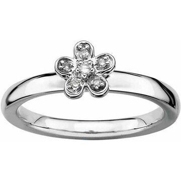 Sterling Silver Stackable Expressions Flower Diamond Ring
