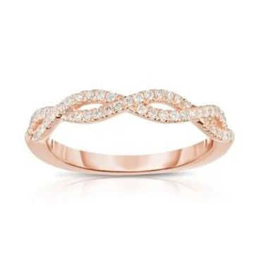 Noray Designs 14K Gold Diamond (0.25 Ct, G-H Color, SI2-I1 Clarity) Infinity Ring (4 - Rose)
