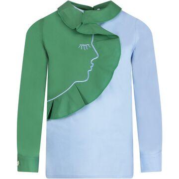 Vivetta Green And Light Blue Blouse For Girl