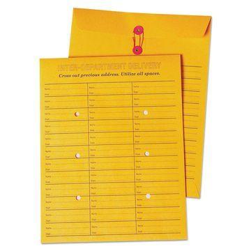 Quality Park Brown Kraft String & Button Box Style Interoffice Envelope 10 x 13
