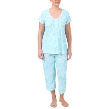 Miss Elaine Short Sleeve Top & Cropped Pant Printed Pajama Set