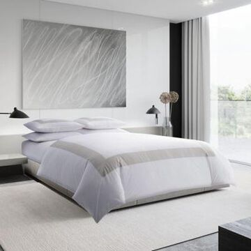 Vera Wang Sateen Band King Duvet Cover Set in Silver