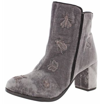 Naughty Monkey Superfly Women's Velvet Embroidered Ankle Booties Boot
