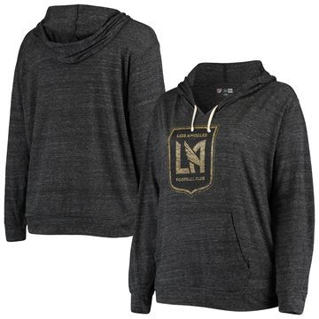 LAFC 5th & Ocean by New Era Women's Plus Size Tri-Blend V-Neck Pullover Hoodie Heathered Black