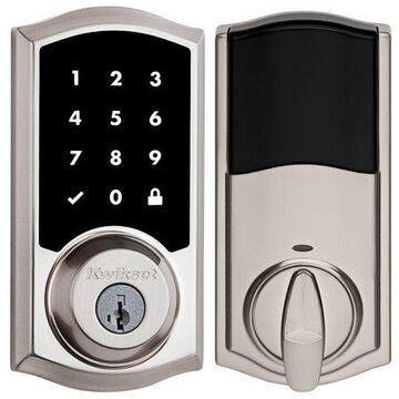 Kwikset 916TRLZW500-15 Z-Wave Enabled Traditional Smartcode Touchscreen Deadbolt with Z-Wave ZW500 Chipset with RCAL Latch and RCS Strike Satin Nickel Finish