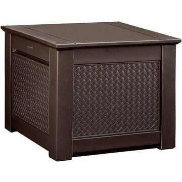 Rubbermaid Patio Chic Outdoor Storage Deck Box, Cube, Dark Teak Wicker Basket Weave