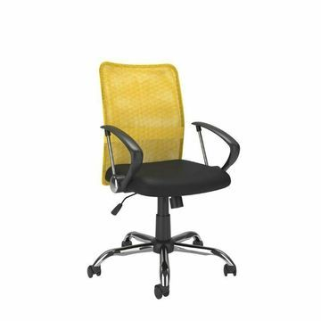 CorLiving Workspace Office Chair with Contoured Yellow Mesh Back