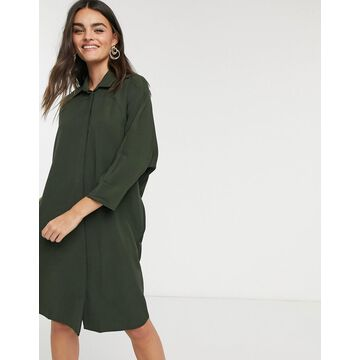 Liquorish shirt dress in khaki-Multi