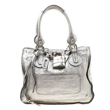Chloe Silver Leather Paddington Tote