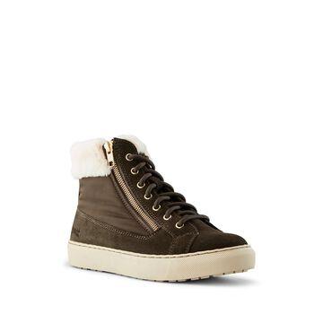 COUGAR Dublin Faux Fur Trim Sneaker, Size 6 in Olive/beige at Nordstrom Rack