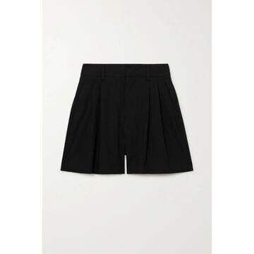 REDValentino - Pleated Stretch-cotton Poplin Shorts - Black