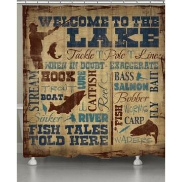 Laural Home Welcome to the Lake Shower Curtain Bedding