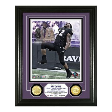 """Highland Mint Ray Lewis Baltimore Ravens 2018 Pro Football Hall of Fame Induction Day 13"""" x 16"""" Bronze Coin Photo Mint"""