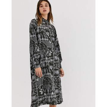 Weekday porcelain print midi dress in deep gray