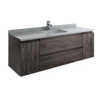 Fresca Fresca Formosa 59-in Wall Hung Single Sink Modern Bathroom Cabinet in Brown