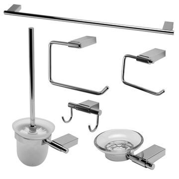 ALFI brand AB9515-PC Polished Chrome 6 Piece Matching Bathroom Accessory Set