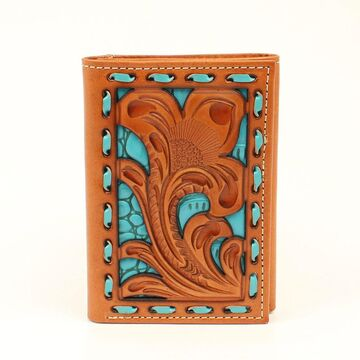 N5418033 Floral Turquoise Underlay Tri-Fold Wallet, Turquoise - 2.75 x 4.25 in.