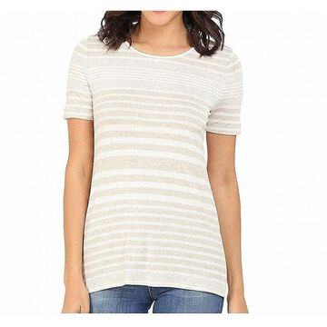 Three Dots Womens Knit Top Small Striped Back-Keyhole