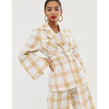 ASOS WHITE belted suit jacket in check print
