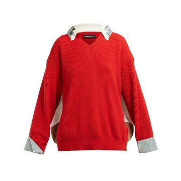 Undercover - Hybrid Cotton Shirt Sweater - Womens - Red