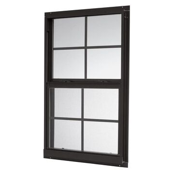ReliaBilt 46000 Series 31.5-in x 59.5-in x 2.6-in Jamb Between The Glass Aluminum New Construction Black Single Hung Window | ASHB3260GRB