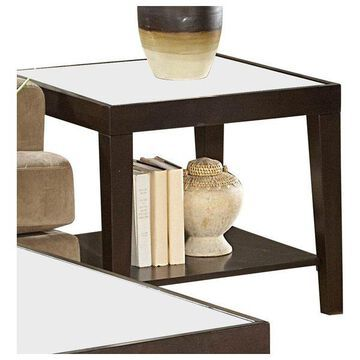 Homelegance Vincent Square Wood End Table With Glass Overlay