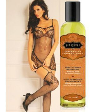 To The Nines Bodystocking Black O/S And Kama Sutra Massage Oil (8oz Sweet Almond)