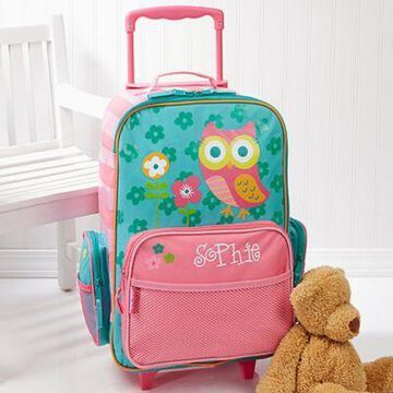 Stephen Joseph Lovable Owl Embroidered Rolling Luggage