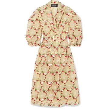 Simone Rocha - Belted Embroidered Tulle Coat - Green