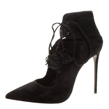 Le Silla Black Suede Lace Up Pointed Toe Ankle Boots Size 39.5
