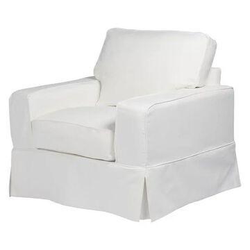 Box Cushion Chair Slipcover Performance Fabric White