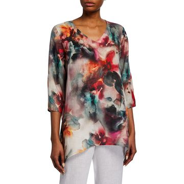 Sunset Watercolor V-Neck 3/4-Sleeve Side-Fall Linen Tunic