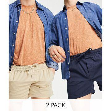 Jack & Jones Intelligence 2 pack drawstring shorts navy & beige-Neutral