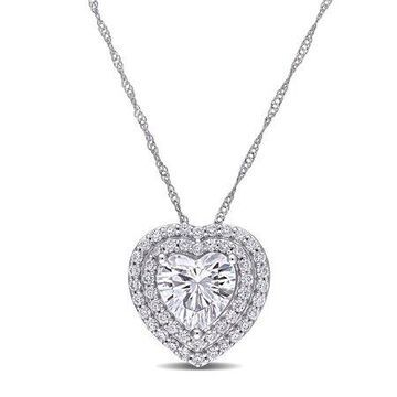 2-1/2 Carat T.G.W. Moissanite 10kt White Gold Double Halo Heart Necklace