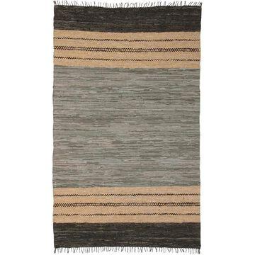 Grey Matador Leather Chindi Rug