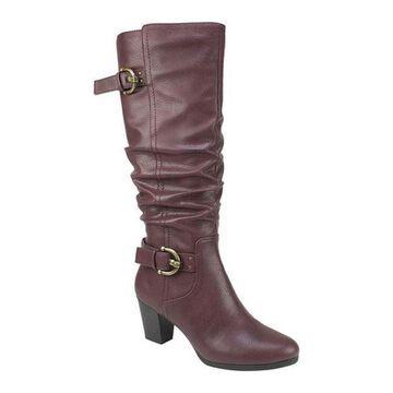 Rialto Women's Farewell Tall Boot Burgundy Smooth Polyurethane