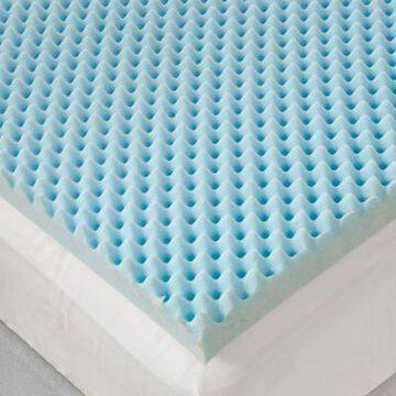Sleep Philosophy Flexapedic 3-Inch California King Gel Foam Egg Crate Topper in Blue