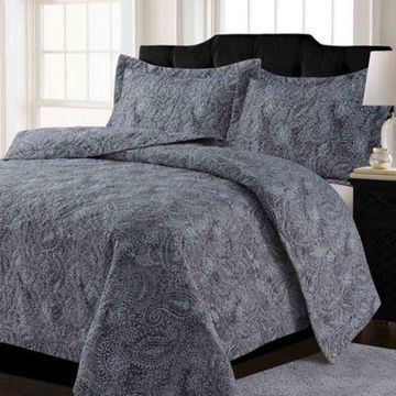 Tribeca Living Lyon Paisley Twin Quilt Set in Grey