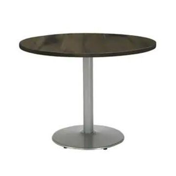"""KFI Urban Loft Round Office Table, Round Silver Base, 30in Height (36"""" round top - Barnwood)"""
