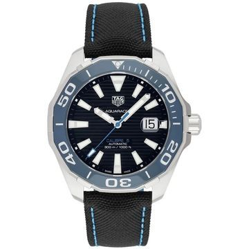 Tag Heuer Men's WAY201C.FC6395 'Aquaracer' Automatic Black Nylon and Leather Watch