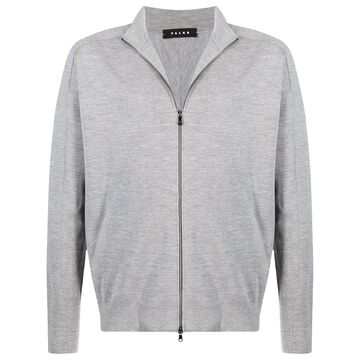 zip-up wool sweatshirt