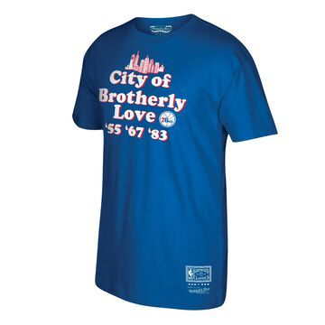 Men's Mitchell & Ness Royal Philadelphia 76ers Hardwood Classics Brotherly Hometown T-Shirt