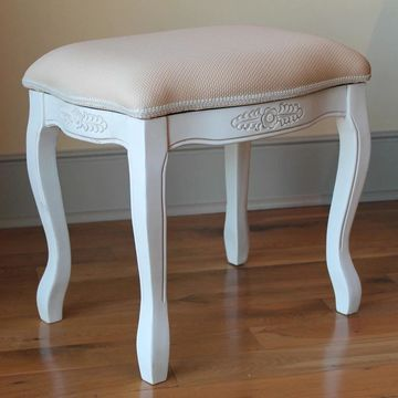 International Caravan Windsor Carved Vanity Stool (Foam/Fabric - White - Fabric)