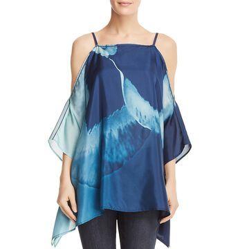Lafayette 148 New York Womens Silk Cold Shoulder Blouse