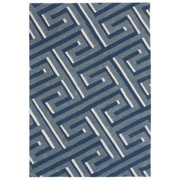 Trans Ocean RMA58930633 Roma Hand Tufted Indoor Rugs, 9306-33 Maze Denim - 5 x 8 ft.