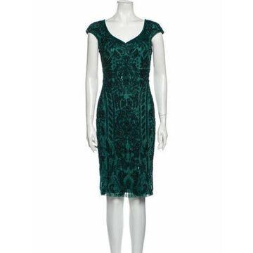 Printed Knee-Length Dress Green