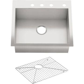 KOHLER Vault Undermount 25-in x 22-in Stainless Steel Single Bowl 4-Hole Kitchen Sink | 3822-4-NA