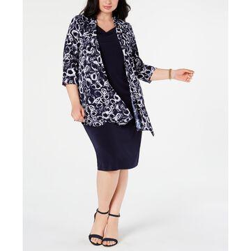 Plus Size Shift Dress & Printed Jacket