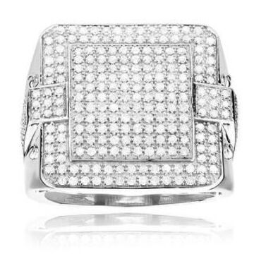 Luxurman 14k Gold 1 3/4ct TDW Men's Square Pave-set White Diamond Ring (H-I, SI1-SI2) (White - 9)
